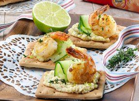 Καναπεδάκια με 'Cream Crackers' ΠΑΠΑΔΟΠΟΥΛΟΥ Σίτου και γαρίδες